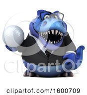 3d Blue Business T Rex Dinosaur Holding A Golf Ball On A White Background