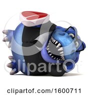 July 16th, 2018: Clipart Of A 3d Blue Business T Rex Dinosaur Holding A Steak On A White Background Royalty Free Illustration by Julos