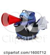 July 16th, 2018: Clipart Of A 3d Blue Business T Rex Dinosaur Holding A House On A White Background Royalty Free Illustration by Julos