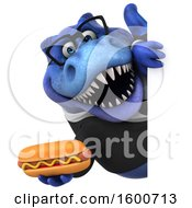 July 16th, 2018: Clipart Of A 3d Blue Business T Rex Dinosaur Holding A Hot Dog On A White Background Royalty Free Illustration by Julos