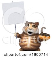 July 16th, 2018: Clipart Of A 3d Tabby Kitty Cat Holding A Donut On A White Background Royalty Free Illustration by Julos