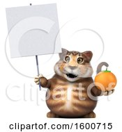 July 16th, 2018: Clipart Of A 3d Tabby Kitty Cat Holding An Orange On A White Background Royalty Free Illustration by Julos