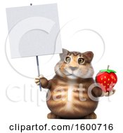 July 16th, 2018: Clipart Of A 3d Tabby Kitty Cat Holding A Strawberry On A White Background Royalty Free Illustration by Julos