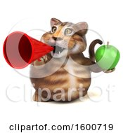 July 16th, 2018: Clipart Of A 3d Tabby Kitty Cat Holding An Apple On A White Background Royalty Free Illustration by Julos