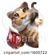 Clipart Of A 3d Tabby Kitty Cat Holding A Blood Drop On A White Background Royalty Free Illustration