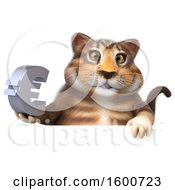 July 16th, 2018: Clipart Of A 3d Tabby Kitty Cat Holding A Euro On A White Background Royalty Free Illustration by Julos