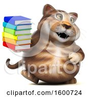 July 16th, 2018: Clipart Of A 3d Tabby Kitty Cat Holding Books On A White Background Royalty Free Illustration by Julos