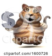 July 16th, 2018: Clipart Of A 3d Tabby Kitty Cat Holding A Dollar Sign On A White Background Royalty Free Illustration by Julos