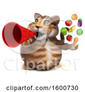July 16th, 2018: Clipart Of A 3d Tabby Kitty Cat Holding Produce On A White Background Royalty Free Illustration by Julos