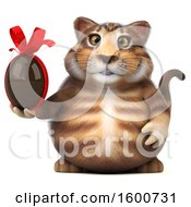 July 16th, 2018: Clipart Of A 3d Tabby Kitty Cat Holding A Chocolate Egg On A White Background Royalty Free Illustration by Julos