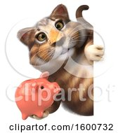 July 16th, 2018: Clipart Of A 3d Tabby Kitty Cat Holding A Piggy Bank On A White Background Royalty Free Illustration by Julos