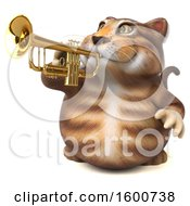 July 16th, 2018: Clipart Of A 3d Tabby Kitty Cat Holding A Trumpet On A White Background Royalty Free Illustration by Julos