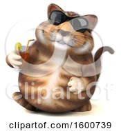 July 16th, 2018: Clipart Of A 3d Tabby Kitty Cat Holding A Beverage On A White Background Royalty Free Illustration by Julos