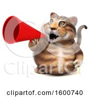 July 16th, 2018: Clipart Of A 3d Tabby Kitty Cat Using A Megaphone On A White Background Royalty Free Illustration by Julos