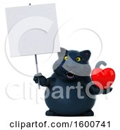 July 16th, 2018: Clipart Of A 3d Black Kitty Cat Holding A Heart On A White Background Royalty Free Illustration by Julos