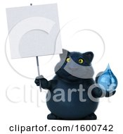 July 16th, 2018: Clipart Of A 3d Black Kitty Cat Holding A Water Drop On A White Background Royalty Free Illustration by Julos