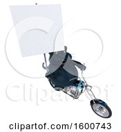 3d Black Kitty Cat Biker Riding A Motorcycle On A White Background
