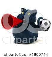 July 16th, 2018: Clipart Of A 3d Black Kitty Cat Holding A Soccer Ball On A White Background Royalty Free Illustration by Julos
