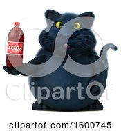 July 16th, 2018: Clipart Of A 3d Black Kitty Cat Holding A Soda On A White Background Royalty Free Illustration by Julos