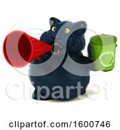 July 16th, 2018: Clipart Of A 3d Black Kitty Cat Holding A Recycle Bin On A White Background Royalty Free Illustration by Julos