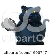 July 16th, 2018: Clipart Of A 3d Black Kitty Cat Holding A Cloud On A White Background Royalty Free Illustration by Julos