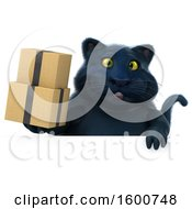 July 16th, 2018: Clipart Of A 3d Black Kitty Cat Holding Boxes On A White Background Royalty Free Illustration by Julos