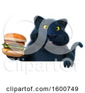 July 16th, 2018: Clipart Of A 3d Black Kitty Cat Holding A Burger On A White Background Royalty Free Illustration by Julos