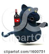 July 16th, 2018: Clipart Of A 3d Black Kitty Cat Holding A Wine Bottle On A White Background Royalty Free Illustration by Julos