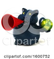 July 16th, 2018: Clipart Of A 3d Black Kitty Cat Holding A Globe On A White Background Royalty Free Illustration by Julos
