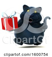 July 16th, 2018: Clipart Of A 3d Black Kitty Cat Holding A Gift On A White Background Royalty Free Illustration by Julos