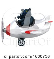 July 16th, 2018: Clipart Of A 3d Black Kitty Cat Flying A Plane On A White Background Royalty Free Illustration by Julos