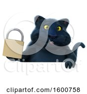 July 16th, 2018: Clipart Of A 3d Black Kitty Cat Holding A Padlock On A White Background Royalty Free Illustration by Julos