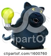 July 16th, 2018: Clipart Of A 3d Black Kitty Cat Holding A Light Bulb On A White Background Royalty Free Illustration by Julos