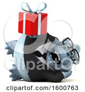 Clipart Of A 3d White Business Monkey Yeti Holding A Gift On A White Background Royalty Free Illustration