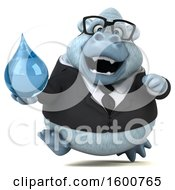 Poster, Art Print Of 3d White Business Monkey Yeti Holding A Water Drop On A White Background