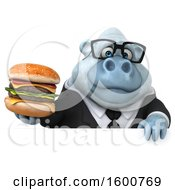 Clipart Of A 3d White Business Monkey Yeti Holding A Burger On A White Background Royalty Free Illustration