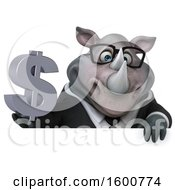 Clipart Of A 3d Business Rhinoceros Holding A Dollar Sign On A White Background Royalty Free Illustration by Julos
