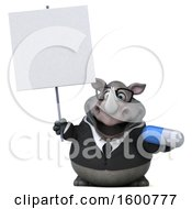 Clipart Of A 3d Business Rhinoceros Holding A Pill On A White Background Royalty Free Illustration by Julos