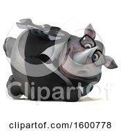 Clipart Of A 3d Business Rhinoceros Holding A Wrench On A White Background Royalty Free Illustration by Julos