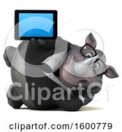 Clipart Of A 3d Business Rhinoceros Holding A Tablet On A White Background Royalty Free Illustration by Julos