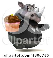 Clipart Of A 3d Business Rhinoceros Holding A Cupcake On A White Background Royalty Free Illustration by Julos