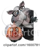 Clipart Of A 3d Business Rhinoceros Holding A Fish Bowl On A White Background Royalty Free Illustration by Julos