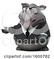 Clipart Of A 3d Business Rhinoceros Presenting On A White Background Royalty Free Illustration by Julos