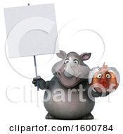 Clipart Of A 3d Rhinoceros Holding A Fish Bowl On A White Background Royalty Free Illustration by Julos