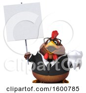 Poster, Art Print Of 3d Brown Business Chicken Holding A Tooth On A White Background
