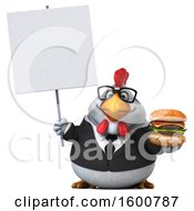 Poster, Art Print Of 3d White Business Chicken Holding A Burger On A White Background