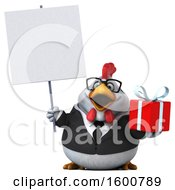 Poster, Art Print Of 3d White Business Chicken Holding A Gift On A White Background
