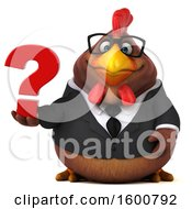 Poster, Art Print Of 3d Brown Business Chicken Holding A Question Mark On A White Background