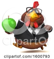 Poster, Art Print Of 3d Brown Business Chicken Holding An Apple On A White Background