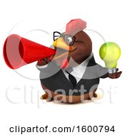 3d Brown Business Chicken Holding A Light Bulb On A White Background